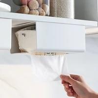 kitchen wall mounted seamless self adhesive tissue box organizer home decoration upside down free punch rectangle storage box