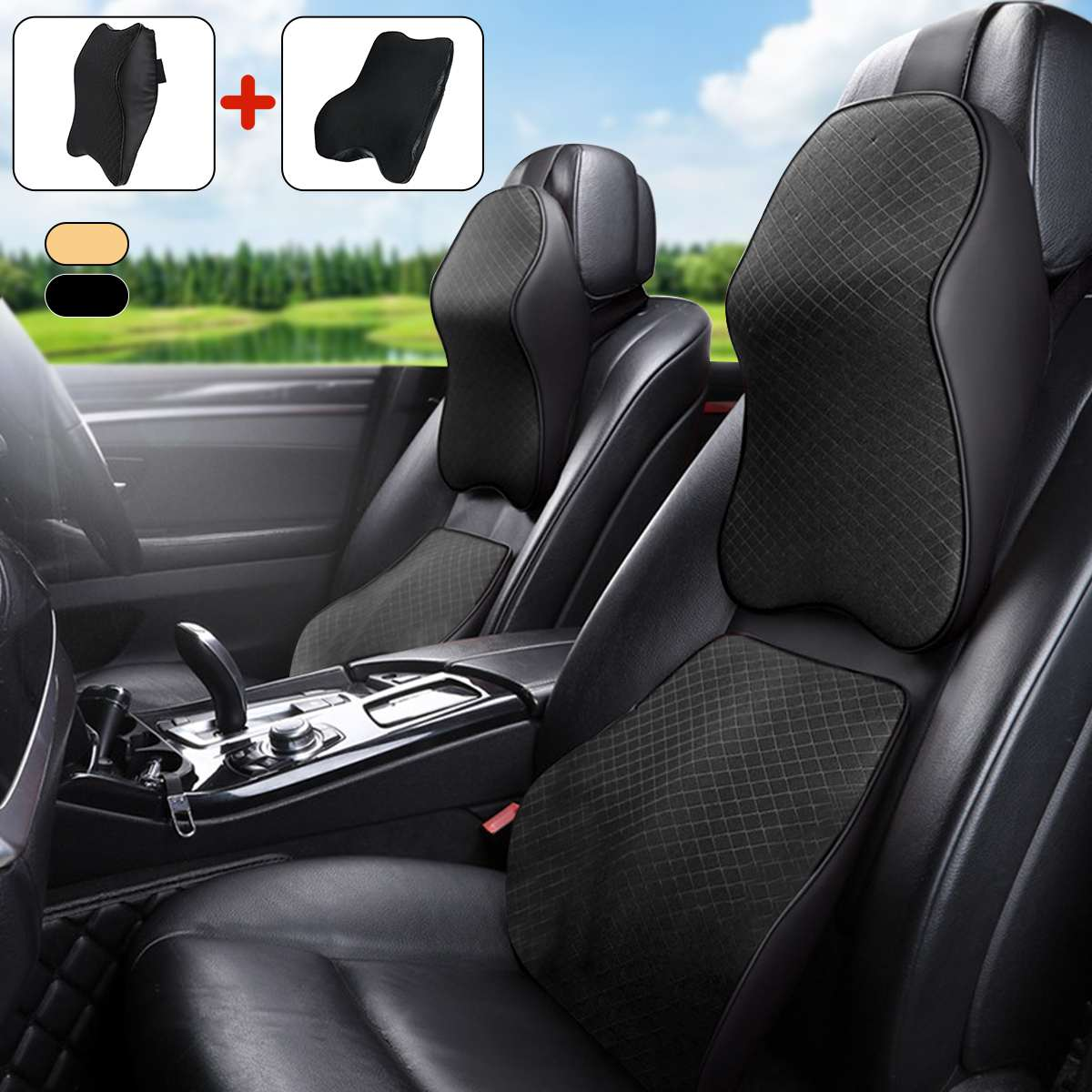 Подголовник автомобильного сиденья, подушка для поддержки поясницы, шеи с эффектом памяти