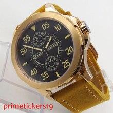 PARNIS luminous 44mm czarna tarcza luksusowy skórzany pasek mechaniczny zegarek męski zegarek
