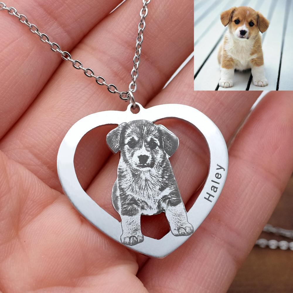 Ожерелье с фото собаки на заказ, ожерелье с персонализированным изображением сердца, подвеска с фото животного, подарок для любимой собаки, ...