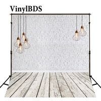 VinylBDS White Brick Wall Wedding Photography Background Kids Wood Floor Backdrop Vintage Chandelier Chidren Backdrop for Studio