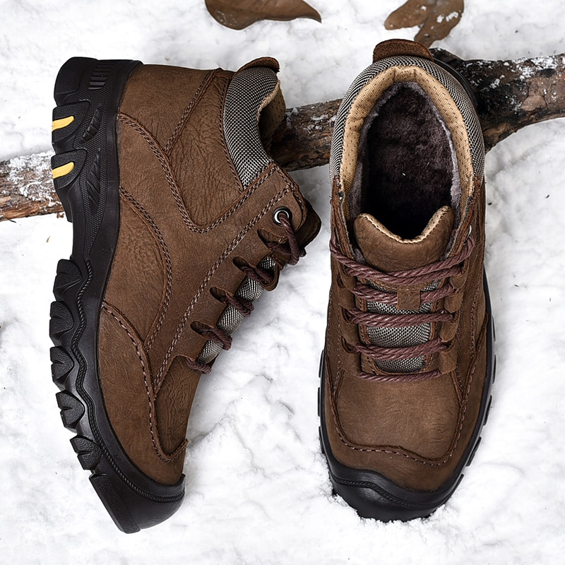 أحذية رجالية شتوية, أحذية رجالية عالية الجودة في الهواء الطلق أحذية جلد طبيعي أحذية المشي لمسافات طويلة الرجال اليدوية مانعة للانزلاق أحذية ...