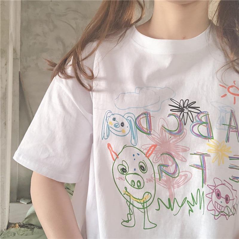 Lindo dibujo grafiti de dibujos animados blanco Casual Swrrt Camiseta de manga corta femenina novedad de verano Ins Harajuku suelta pulóver Tops Coreanos
