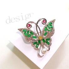 Luxus Grün Strass Perle Schmetterling Broschen für Frauen Schmuck Chic Elegante Insekt Brosche Pin broche femme bijoux de luxe