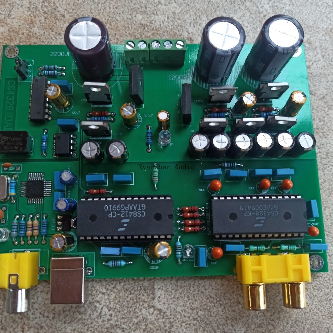 Nvarcher PCM2706+CS8412+CS4328 Decoder Board USB Coaxial Input 317 337 Regulated Power Supply enlarge