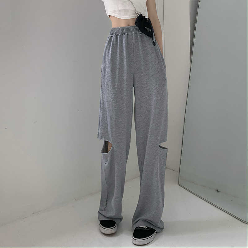 Broken Holes Pants Women's Summer New Korean Style Boyfriend Style Sports Wide-Leg Pants High Waist