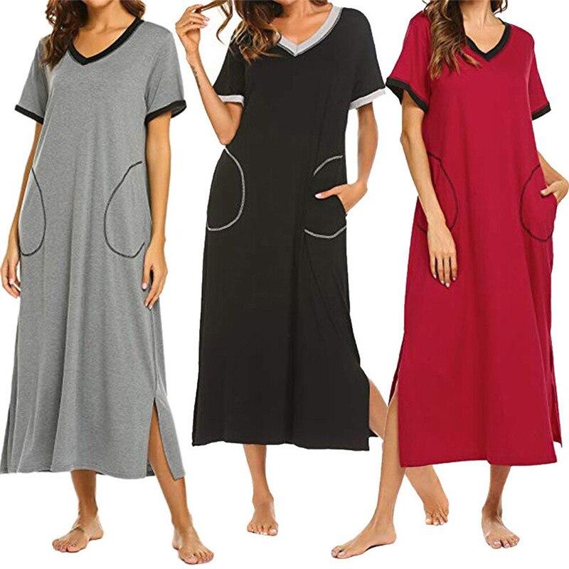2019 Hot Mulheres Nightgowns V-neck Sleepdress Outono Mid-calf Mulheres Nightwear V-divisão Camisola Longa Sleepwears Para O Sexo Feminino