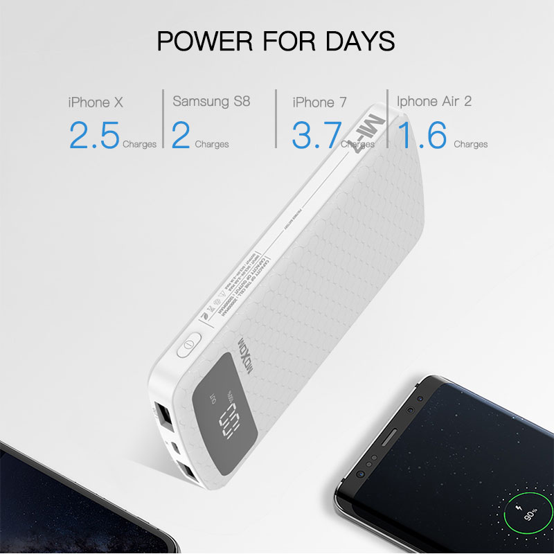 MOXOM 20000mAh USB Power Bank Portable External Battery Pack Charger USB Powerbank for Xiaomi mi 9 iPhone Power bank