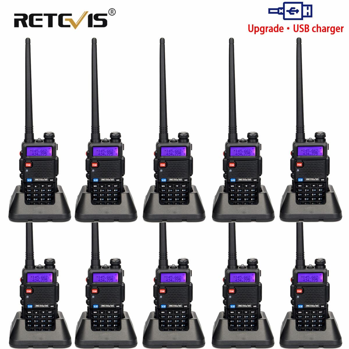 Walkie Talkie 10pcs Retevis RT5R 5W 128CH Dual Band USB Charger UHF+VHF Ham Radio Transceiver Radio Comunicador for Hunting