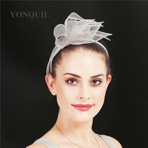 Elegant Women Wedding Headband White Fascinators Hair Accessories For Ladies Mesh Headwear Cocktail Race Headdress Church Lady