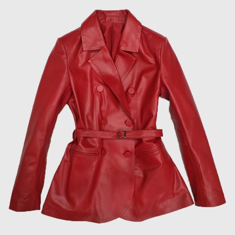 Leather Double Breasted Jacket Women Jaqueta Couro Real Full V-neck Clothing Female 2020 New Slim Locomotive Sheep Blazer enlarge