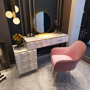 Luxury Dressing Table and Nightstand Makeup Light Mirror Makeup Chair and Stool-5 Drawers Dressers Storage Organizer 80cm