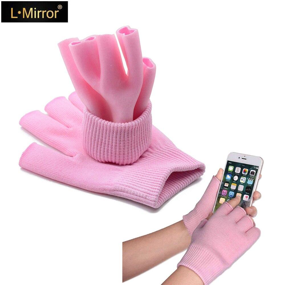 L. Espejo 1 par Spa de Gel guantes hidratantes para piel agrietada, mujeres medio dedo mano suave forro hidratante curar la piel seca