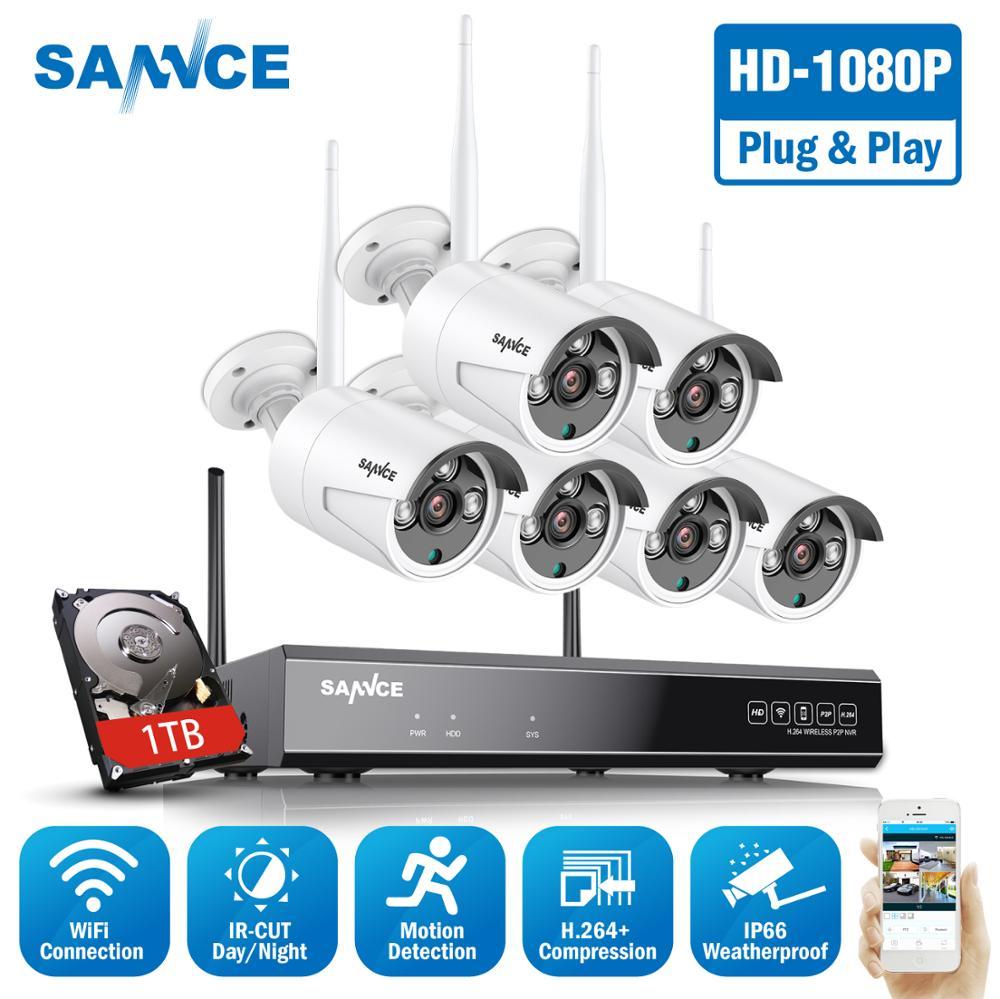 Sannce 8CH 1080P Hdmi Wifi Nvr 6 Pcs 2.0MP Ir Outdoor Weerbestendige Cctv Draadloze Ip Camera Beveiliging Video Surveillance systeem Kit