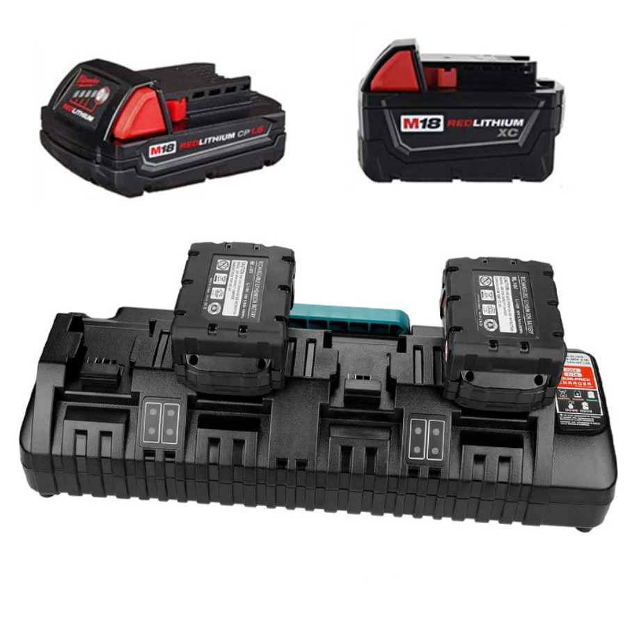 For Milwaukee 14.4V 18V Li-ion Charger Rapid Optimum 4-Port 3A Charging Current Replacement Battery Charger N14 N18 enlarge