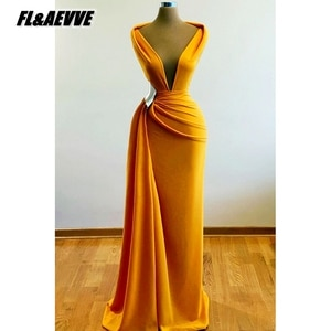 Real Picture Yellow Evening Dress Long V Neck 2021 Mermaid Floor Length Evening Prom Party Gowns