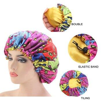 New Adjust Large Sleep Hair Styling Caps 33cm African Print Fabric Hair Bonnet Satin Lined Sleep Cap Night Hat Ladies Turban