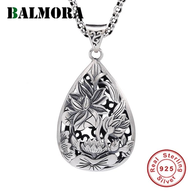 BALMORA Real 990 Sterling Silver Vintage Hollow Lotus Flower Pendants for Women Men Couple Gift Elegant Fashion Jewelry Bijoux