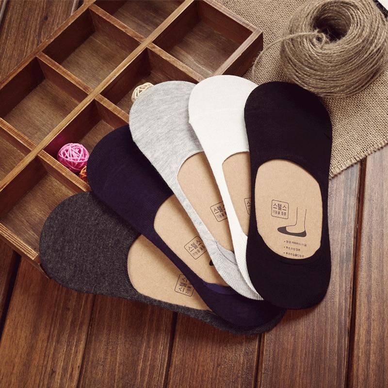 10 pieces = 5 pares novos meias de algodão homens invisíveis meias de silicone anti-skid, cor pura meias de verão