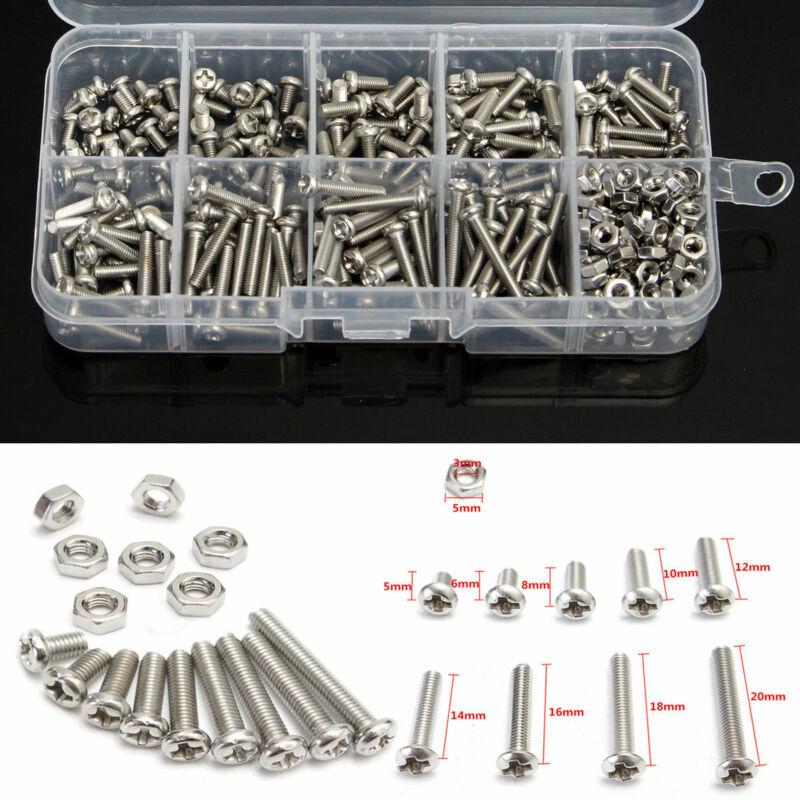 340pcs M3 DIN7985 Stainless Steel Hex Screw Nuts Bolt Cap Socket Assortment Set