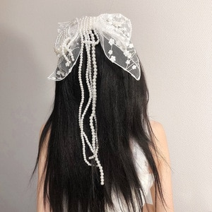 Korean Bow Hairpins White Embroideried Lace Hair Clips Pearl Long Tassel Spring Clip Bridal Wedding Hair Accessories Barettes