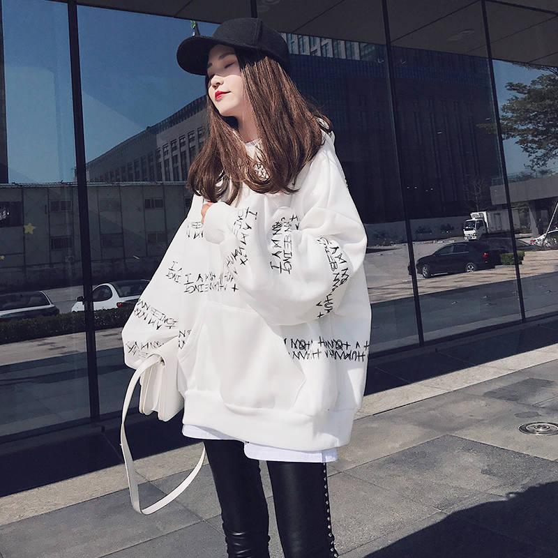 Женские свободные кофты с длинным рукавом, милые толстовки в стиле Харадзюку С буквенным принтом, весенние корейские кофты большого размер...