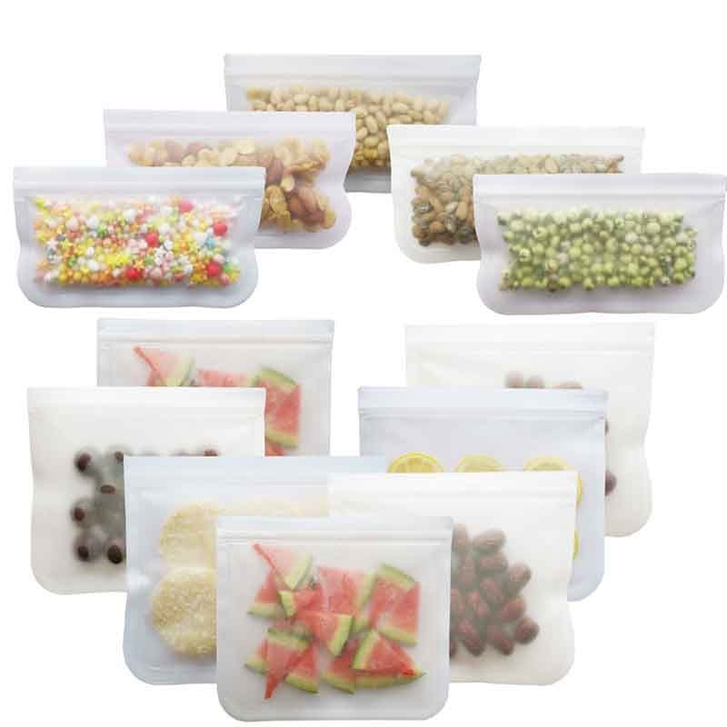 Bolsa de silicone peva fosca para alimentos, saco de comida reutilizável à prova de vazamento de frutas e lancheira