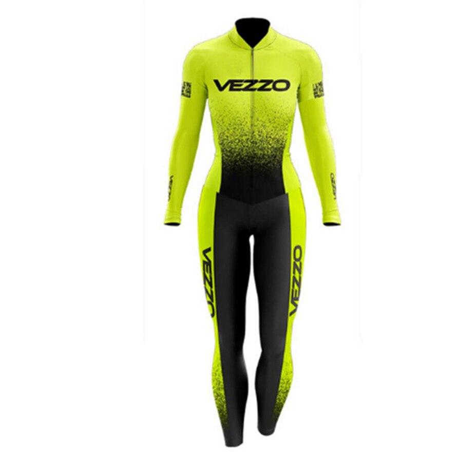 VEZZO-Conjunto de ropa de triatlón largo para Mujer mono de Gel de rosa con almohadilla de Conjunto para Ciclis Maillot de ciclismo