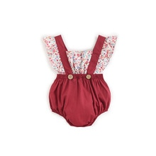 ATUENDO Summer Fashion Red Newborn Baby Rompers 100% Cotton Satin Soft Infant Jumpsuit Kawaii Cute S