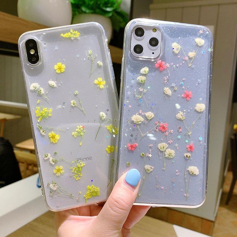 Real seca flor caso iPhone 7 para iPhone 7 Plus 6 6s resina epoxi con fibra estrella brillo transparente claro caso para iPhone 11 Pro X XR XS MAX cubierta suave