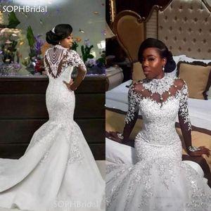 New Arrival Luxury Crystal Beads Wedding Dresses Mermaid High Neck Long Sleeve African Women Bridal Gowns Vestido de Novia