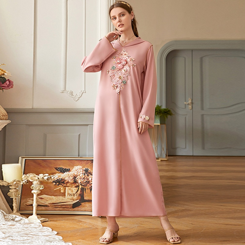 Muslim Arab Ramadan Pink Hooded Robe Handmade Flower Embroidered Kimono Dubai Abaya Casual Women's Dress Moroccan Prayer Clothes