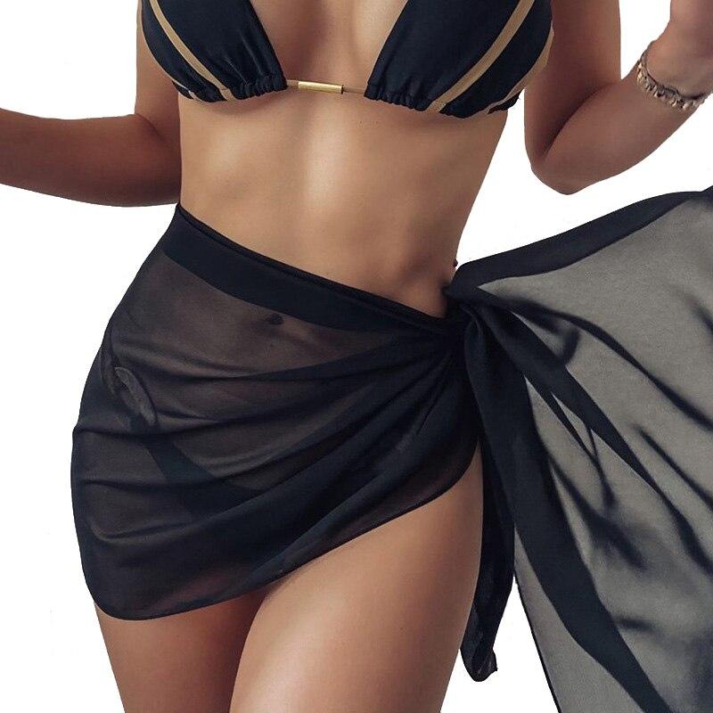 Лето 2021, одежда для плавания, однотонная шифоновая модная новинка, Женский пикантный пляжный цельный шарф на шнуровке (цена включает только ...