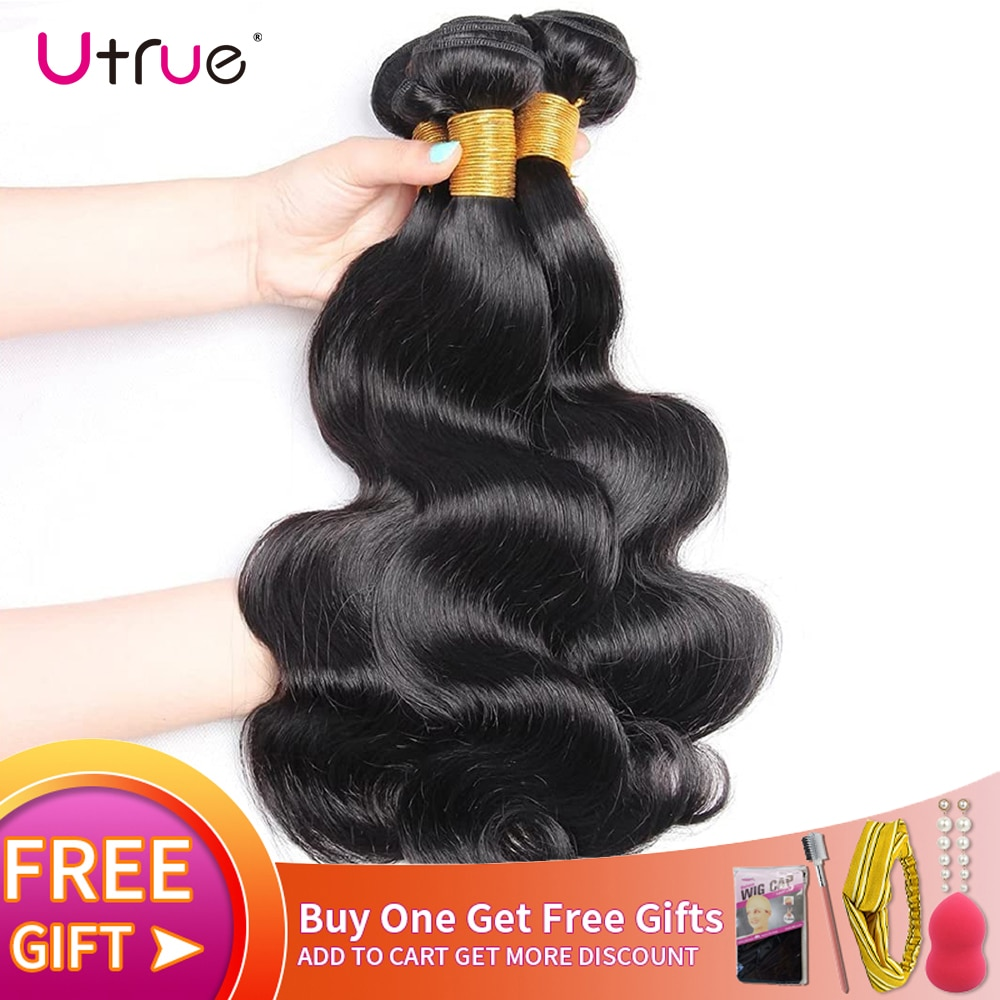 Utrue Peruvian Body Wave Hair Bundles Deals Remy Natural Color Machine Double Weft Loc Extensions Made From 100% Human Hair