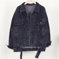 vintage washed jeans jacket women outerwear harajuku autumn new short black blue denim jackets female chaqueta mujer streetwear