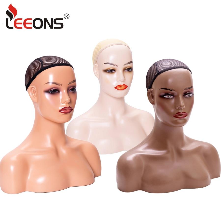 Leeons Fashion Mannequin Head With Shoulder Realistic Wig Model Pretty Female Dark Brown Beige