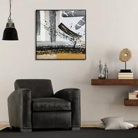 Abstrait noir blanc jaune encre tendance brosse Style toile peinture affiche mur Art photos imprimer pour salon decor a la maison
