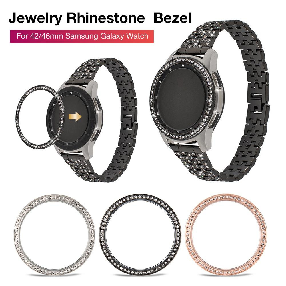 New Jewelry Bezel Ring Case for Samsung Galaxy Watch 42mm 46mm Anti-scratch Metal Rhinestone Loop Co