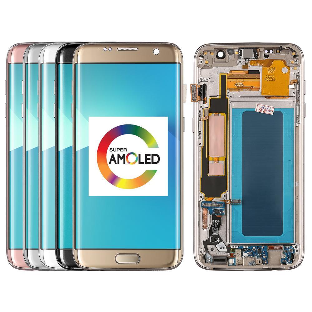 الأصلي لسامسونج غالاكسي S7 حافة G935 SM-G935F سوبر Amoled LCD عرض و شاشة تعمل باللمس محول الأرقام الجمعية استبدال أجزاء