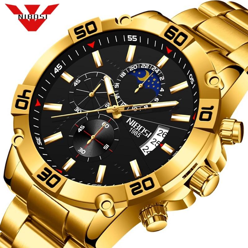 NIBOSI 2021 Fashion Gold Watch Mens Watches Top Brand Luxury Clock Man Military Chronograph Quartz W