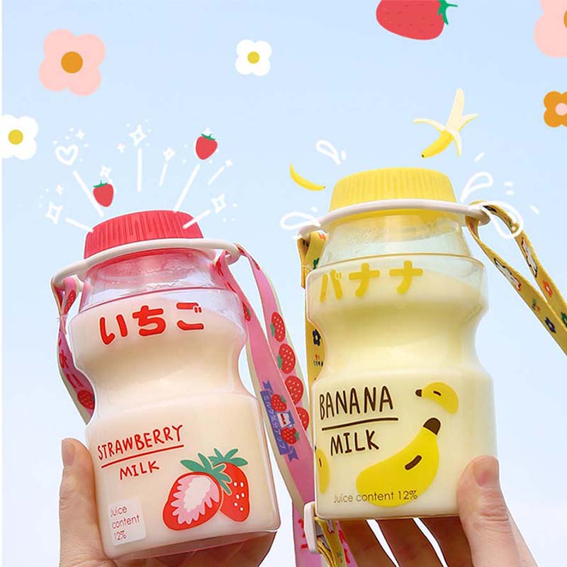 480ml Plastic Water Bottle Tour Drinking Bottle Yakult Shape Cute Kawaii Milk Carton Shaker Bottle f