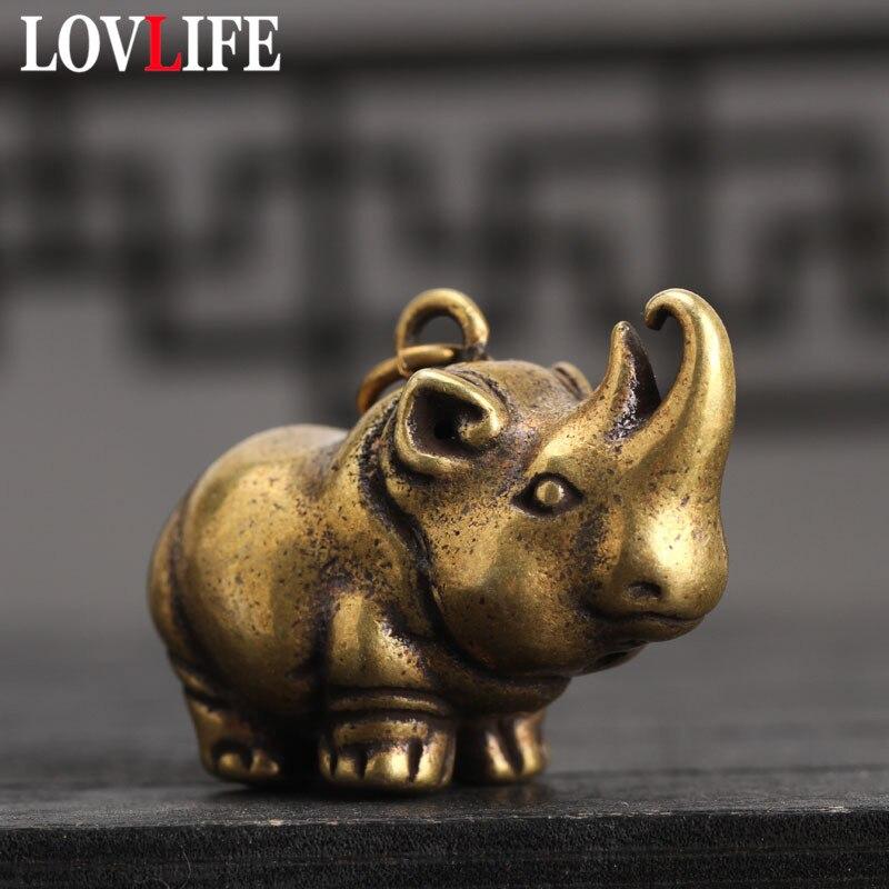 Solid Brass Rhinoceros Key Chains Pendant Handmade Vintage Pure Copper Animal Small Decoration Trinket Tea Pet Keychain Hanging