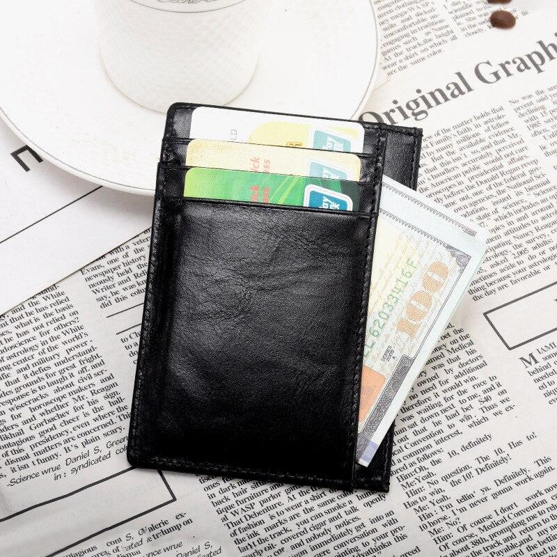Rfid Vintage-Billetera de cuero genuino para Hombre, portatarjetas de negocios marca, Mini...