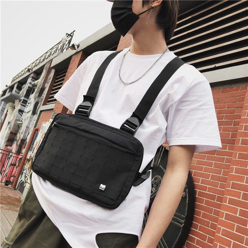 Chaleco táctico Alix riñonera negra bolsa de pecho para hombre bolsa de plátano Unisex de alta capacidad riñonera bolsa de hombro Hip Hop