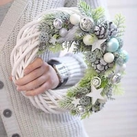 christmas rattan wreath ornaments hanging flower crafts home party decoration easter wedding wreaths