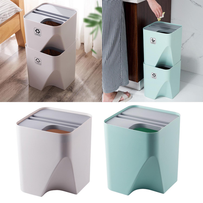 Behogar 1 Uds Cubo de basura separación de ropa seca y húmeda apilada, papelera de basura reciclada para el hogar, cocina, baño de 12 pulgadas
