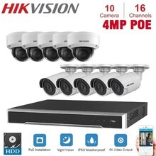 16-ch هيكفيجن بو NVR المراقبة بالفيديو مع 10 قطعة 4MP IP كاميرا نيتويرك الأمن للرؤية الليلية CCTV نظام الأمن أطقم