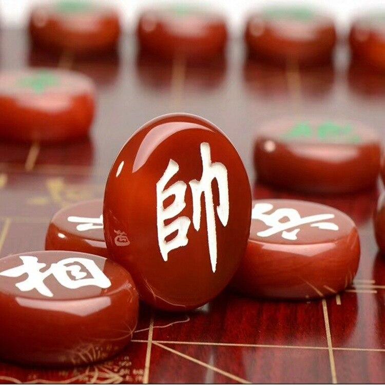 Minimalist Chinese Chess Large Tournament Agate Classic Chinese Chess Party Games Wooden Jogos Tabuleiro Entertainment BG50XQ