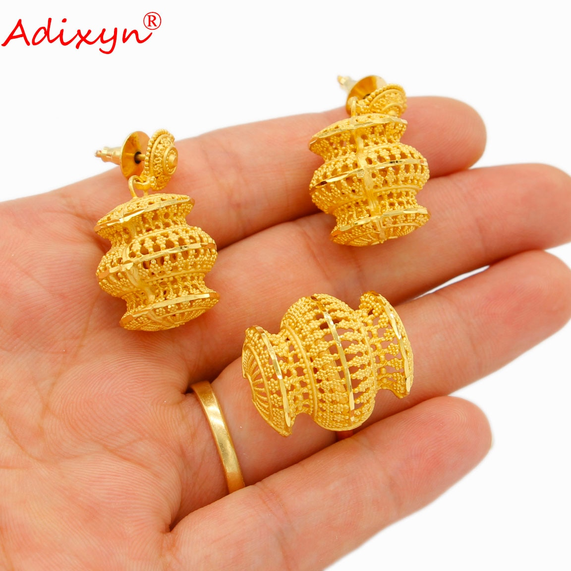 Adixyn Dubai 24K Gold Color Jewelry sets for Women Inidan Necklace Earrings Ring Set Bridal Wedding Gifts N082811