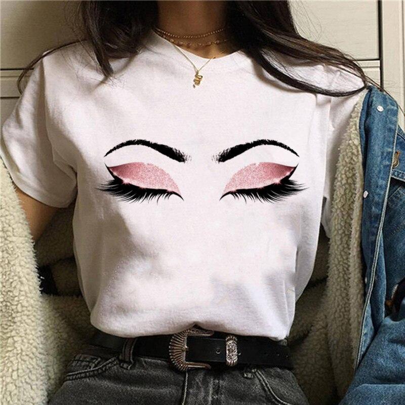 Camiseta de moda brillante sombra de ojos mujeres Harajuku Ullzang encantadores ojos Winking camiseta sexy pestañas gráfico ropa estilo coreano